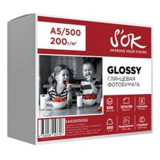 Фотобумага S'OK глянцевая, формат А5 (127x178мм), плотность 200 г/м2, 500 листов