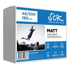 Фотобумага S'OK матовая, формат А6 (100х150), плотность 180 г/м2, 500 листов