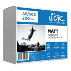 Фотобумага S'OK матовая, формат А5 (127x178мм), плотность 200г/м2, 500 листов