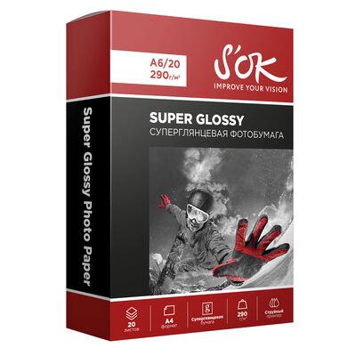 Фотобумага Premium S'OK суперглянцевая, формат А6, плотность 290г/м2, 20 листов фото
