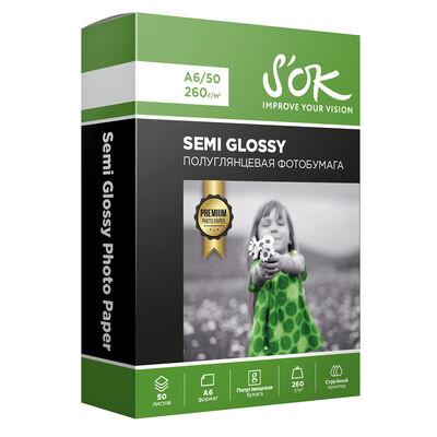 Фотобумага Premium S'OK полуглянцевая, формат А6, плотность 260г/м2, 50 листов фото