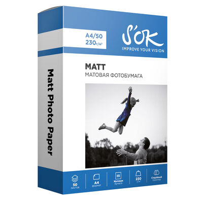 Фотобумага S'OK матовая, формат А4, плотность 230г/м2, 50 листов фото